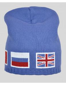 """Шапка удлиненная для мальчиков голубого цвета """"Евро"""""""