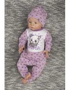"""Комплект для малышей сиреневого цвета (боди и штаны) """"Котенок"""""""